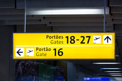 Internacional Airport, gate yellow sign Royalty Free Stock Image