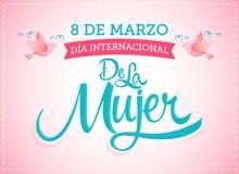 internacional de la Mujer de 8 de marzo Diâmetro, tradução espanhola: O dia das mulheres internacionais do 8 de março ilustração stock