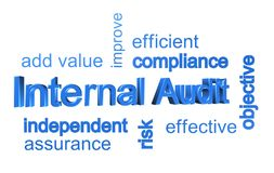 Internal Audit infographic. Word cloud infographic for Internal Audit with associated phrases Royalty Free Stock Photos