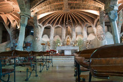 Internal of the Church of Colònia Güell Royalty Free Stock Photography