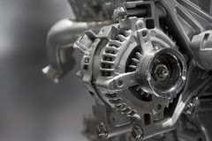Internal combustion engine. Metallic shiny new internal combustion engine showing details royalty free stock photos