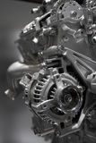 Internal combustion engine. Metallic shiny new internal combustion engine showing details stock photos