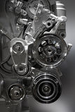 Internal combustion engine. Metallic shiny new internal combustion engine showing details royalty free stock image