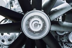 Internal combustion engine automotive. Engine fragment close-up Engine cooling fan stock photo