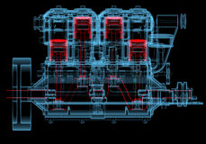 Internal combustion engine (3D xray red and blue transparent). Internal combustion engine (3D xray red and blue transparent isolated on black background Stock Image