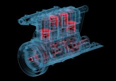 Internal combustion engine (3D xray red and blue transparent). Internal combustion engine (3D xray red and blue transparent isolated on black background Royalty Free Stock Photos