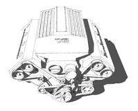 The internal combustion engine. Powerful eight. Cylinder engine. Pencil drawing vector illustration