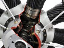 Internal components and parts of aircraft engine. Motor power detail engineering industry jet mechanical metal technology plane airplane aviation complex energy stock image