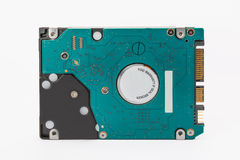 Internal Computer Hard drive from a laptop on White blackground Royalty Free Stock Photo