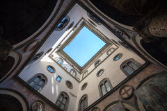 Internal court yard sky view of Palazzo Vecchio in Florence Royalty Free Stock Images