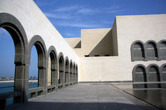 Internal courtyard of the Museum of Islamic Art in Doha, Qatar. The museum is a wonderful, modern building designed by renown architect I.M. Pei Royalty Free Stock Photo