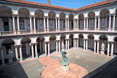 Internal courtyard of Pinacoteca di Brera, Milan Stock Photos