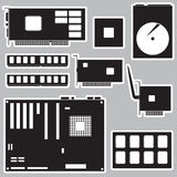 Internal desktop computer components black stickers eps10 Royalty Free Stock Images