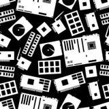 Internal desktop computer components seamless dark pattern eps10 Stock Photography