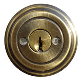 Internal Door Lock. Internal Piece of Protecto-Keyed Door Lock with Masked Bolts Royalty Free Stock Images