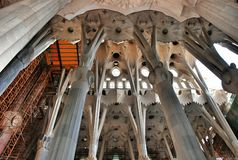 Internal elements and details temple Sagrada Familia Stock Image