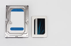 Internal hard drive and solid state drive disk on white Royalty Free Stock Image