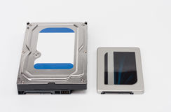 Internal hard drive and solid state drive disk on white Royalty Free Stock Photos