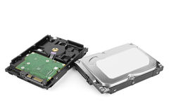 Internal hard drives. Two internal HDD hard disk drives on white Royalty Free Stock Photography