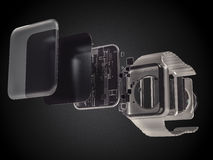Internal inside electronic smart watches. 3D illustration Stock Photo