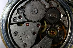 Internal mechanism of old watches. A close-up shot Royalty Free Stock Image