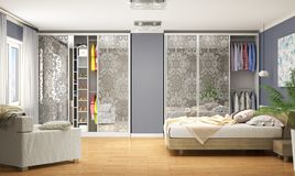Internal modern wardrobe for the bedroom. Wardrobe Coupe. 3d illustration vector illustration