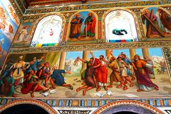 Internal painting on wall of church of the First Martyr St. Stephen in the monastery Beit Jamal Royalty Free Stock Photography