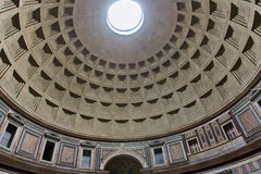 Internal part of dome in Pantheon in Rome Stock Photography