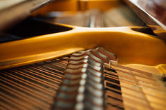 The internal parts of  grand piano strings Stock Photography