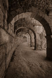 Internal passages in the ancient Roman amphitheater of Aspendos. Stock Photos