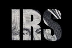 Internal revenue service text on the dollar bill stock photo