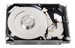 Internal sata hard disk drive box without cover. Internal 3.5-inch sata hard disk drive box without cover isolated on white background Royalty Free Stock Image