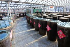 Vinegar storage room. The internal scenery of Storage room of Baoyuan Vinegar Factory in Qinxu, Shanxi, China Stock Photo