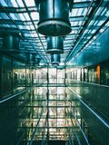 Internal space of modern building. Internal space of building with glass and steel structures. Modern interior design atrium. Ventilation and air conditioning royalty free stock photography