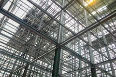 Building structures made of steel with a solid strength. stock image