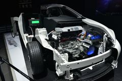 The internal structure of Toyota plug-in hybrid saloon car Stock Images