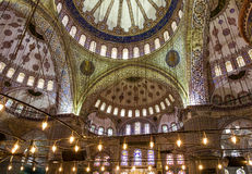 Internal view of Blue Mosque, Sultanahmet, Istanbul, Turkey Royalty Free Stock Photos