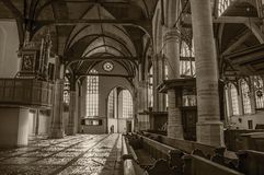 Internal view of gothic church with artistic interference in Amsterdam. Royalty Free Stock Photography