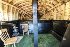 The famous Half-Sovreign Cottage in the Fisherman`s Museum quarter, Hastings, East Sussex, England. An internal view of the Hastings Fisherman`s Museum quarter royalty free stock photos