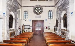 Internal view of medieval Basilica of Sant Aurea in Ostia Antica - Rome, Italy Royalty Free Stock Images