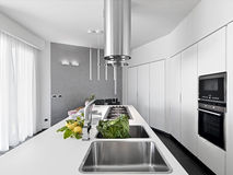 Internal view of a modern kitchen Royalty Free Stock Images