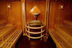 Internal view of  sauna in spa.  Royalty Free Stock Photography