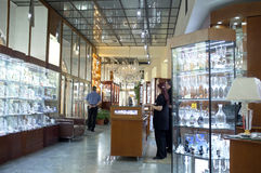 Bohemian crystal shop in Prague Royalty Free Stock Photos