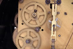 Internal workings of an antique clock movement Royalty Free Stock Photography