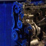 Internals d'engine avec des réflexions bleues de DEL Photo stock