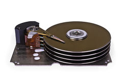 Internals of a hard disk drive. On white background stock photos