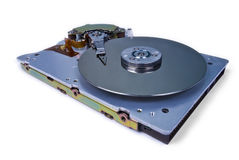 Internals of a hard disk drive. On white background stock photo