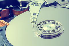 Internals of a harddisk HDD. Royalty Free Stock Image