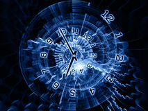 Internals of time. Arrangement of clock hands, gears, lights and numbers on the subject of time sensitive issues, deadlines, scheduling, temporal computational Royalty Free Stock Image