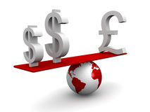 Internatianal currency balancing concept Stock Photo